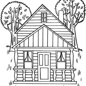 300x300 Simple Drawing Of Houses Coloring Page Color Luna