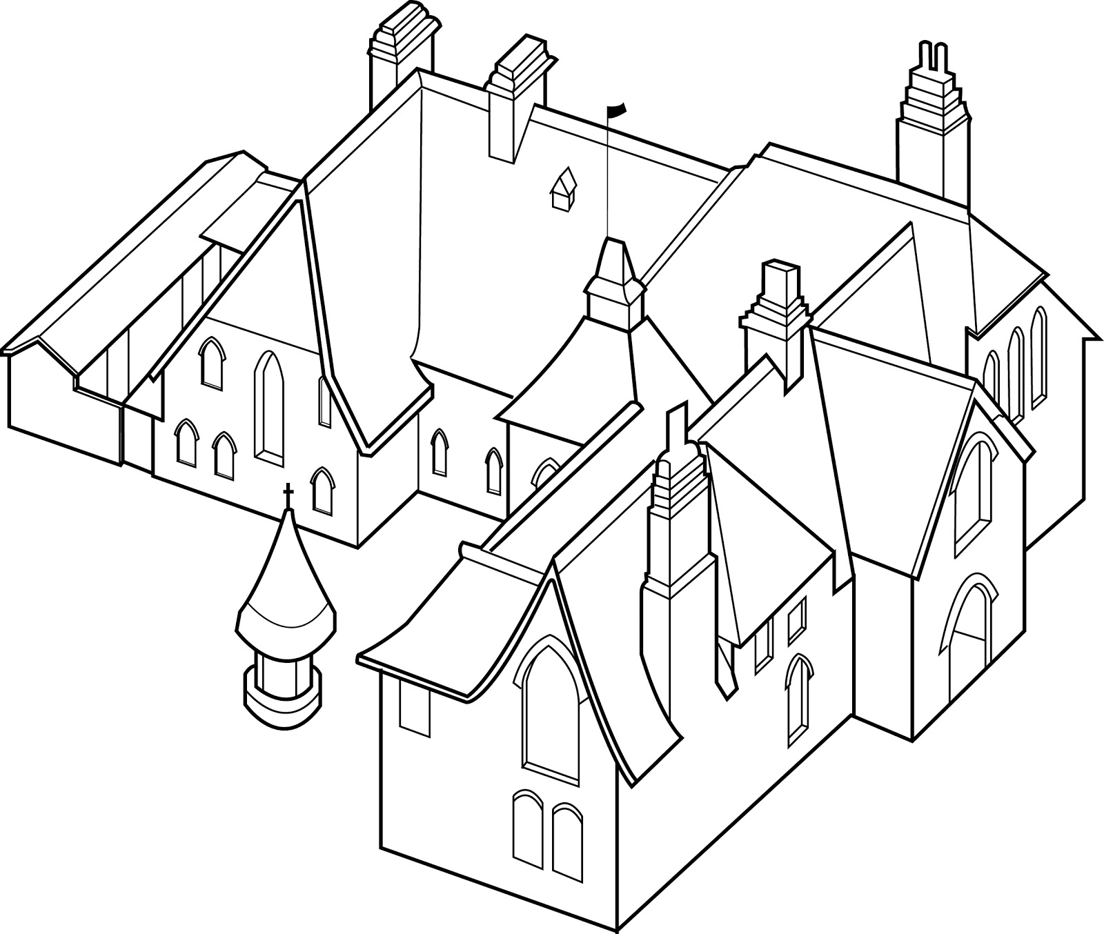 1600x1354 The Red House Axonometric Drawing Of The Red House