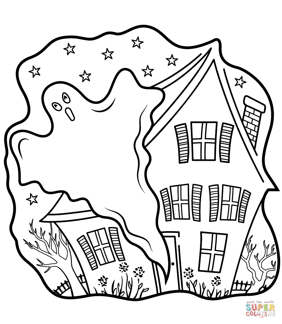922x1060 Haunted Houses With Ghost Coloring Page Free Printable