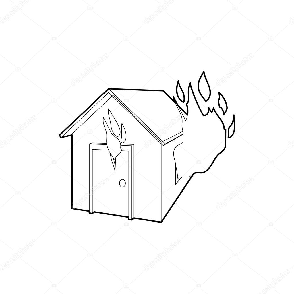 1024x1024 House On Fire Icon, Outline Style Stock Vector Ylivdesign