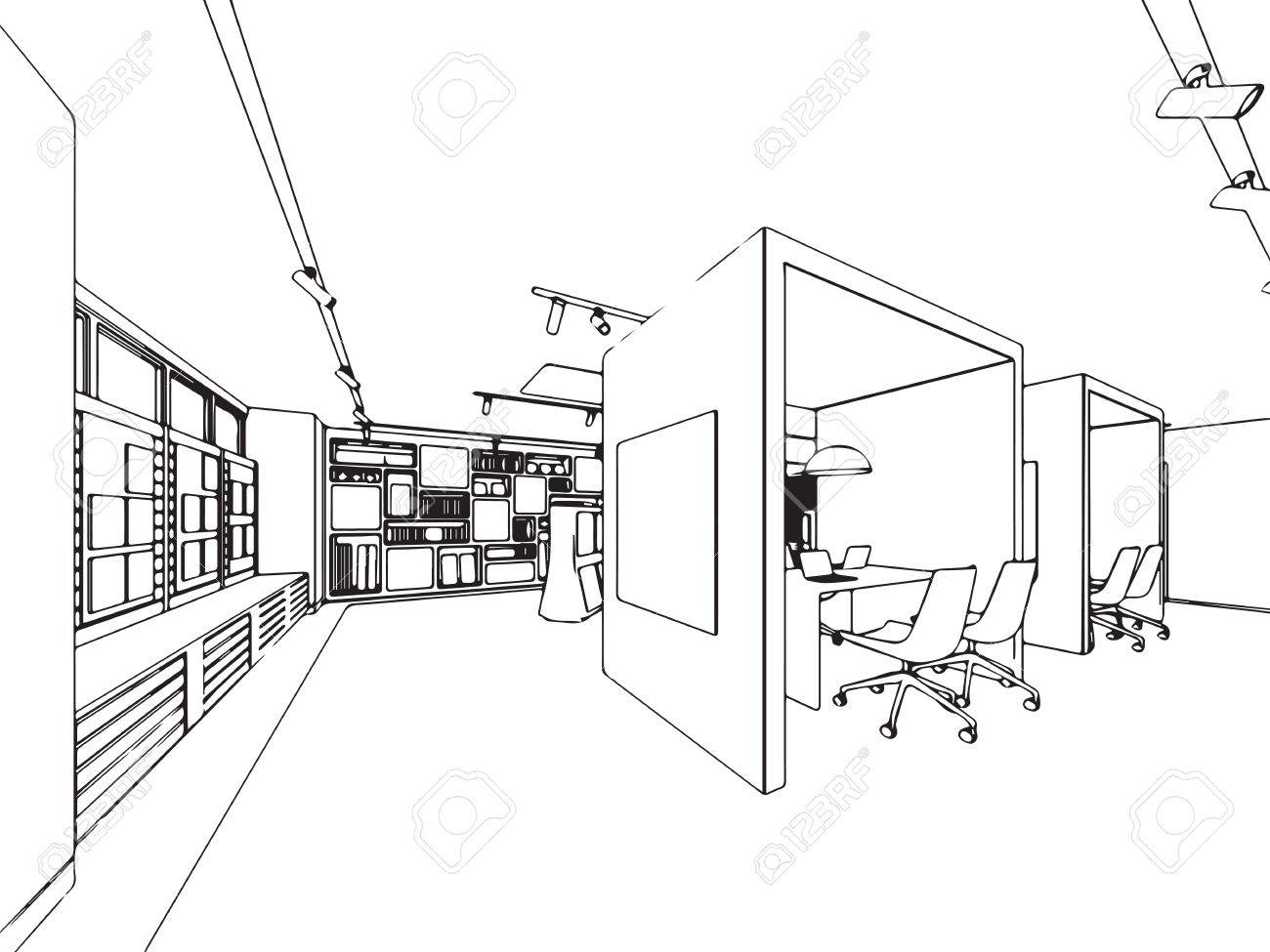 1300x975 Interior Outline Sketch Drawing Perspective Of Showroom Royalty