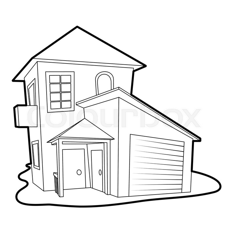 800x800 Modern House Icon. Outline Illustration Of Modern House Vector