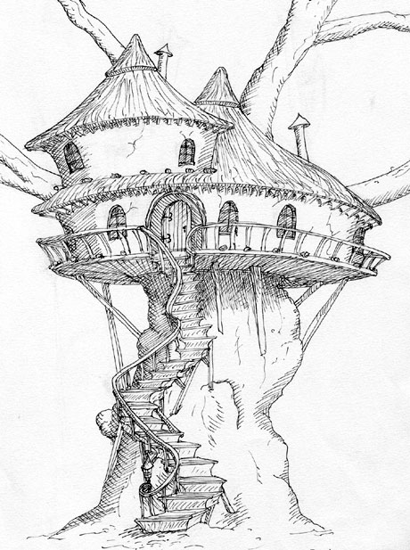 460x617 Old Tree House Drawing
