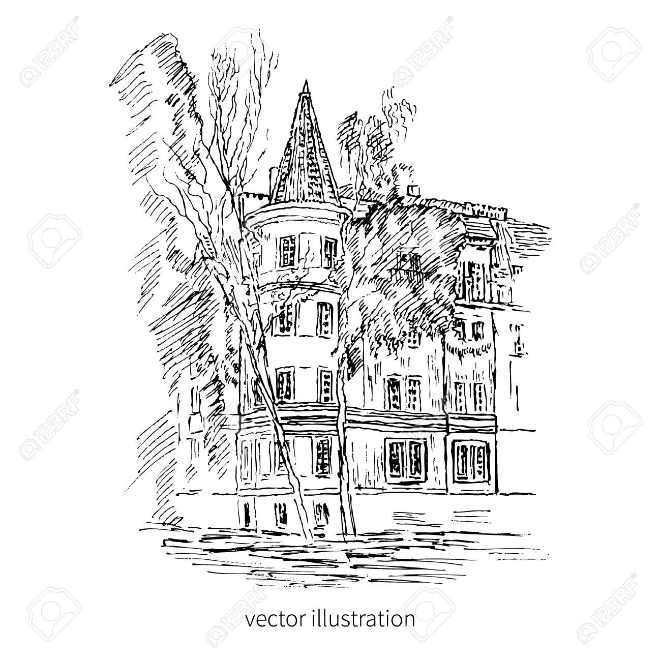 1300x1300 Vintage Tile Old European House, Vector Graphic Illustration