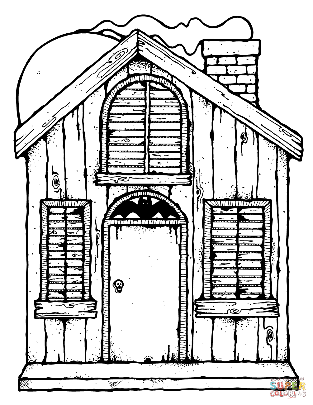 1005x1300 Haunted House Coloring Page Free Printable Pages