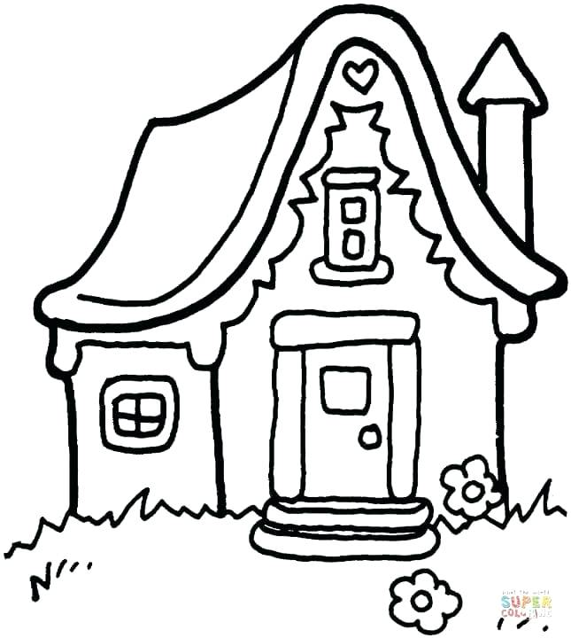 645x720 House Template To Color Printable Gingerbread House Coloring Pages