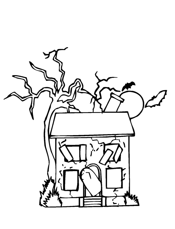 576x756 Abandoned House Coloring Page Purple Kitty