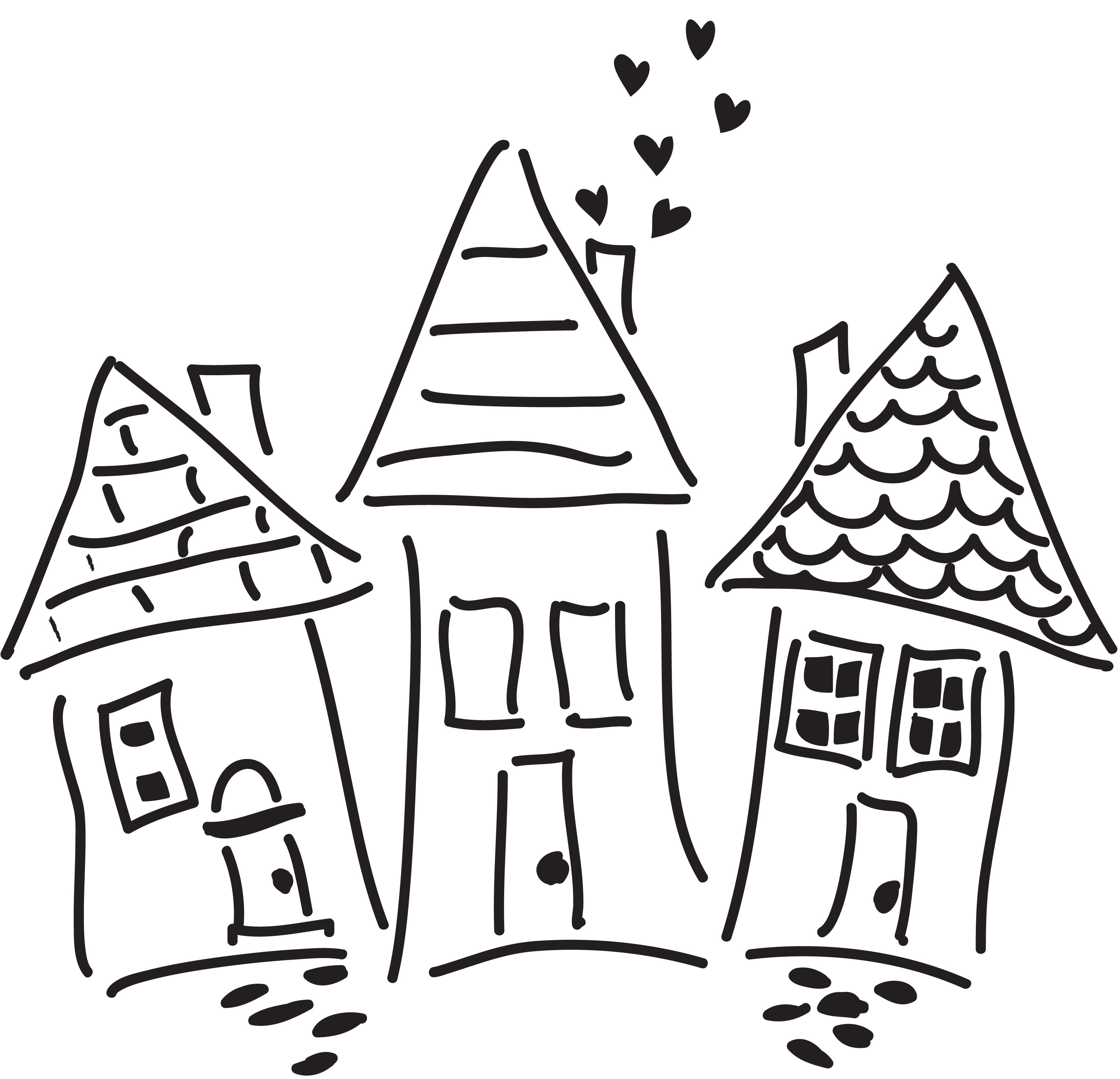 3241x3123 Whimsical Houses Marks, Scribbles, And Doodles