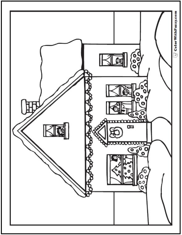 590x762 Christmas House Coloring Sheet