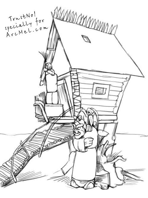 500x667 How To Draw A Hut On Hen's Legs Step By Step