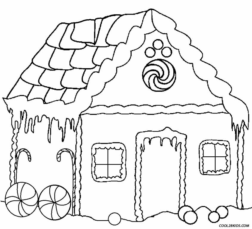 846x769 Printable Gingerbread House Coloring Pages For Kids Cool2bKids