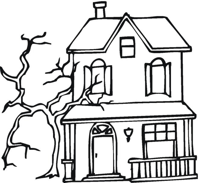 660x606 Haunted House Coloring Pages To Print