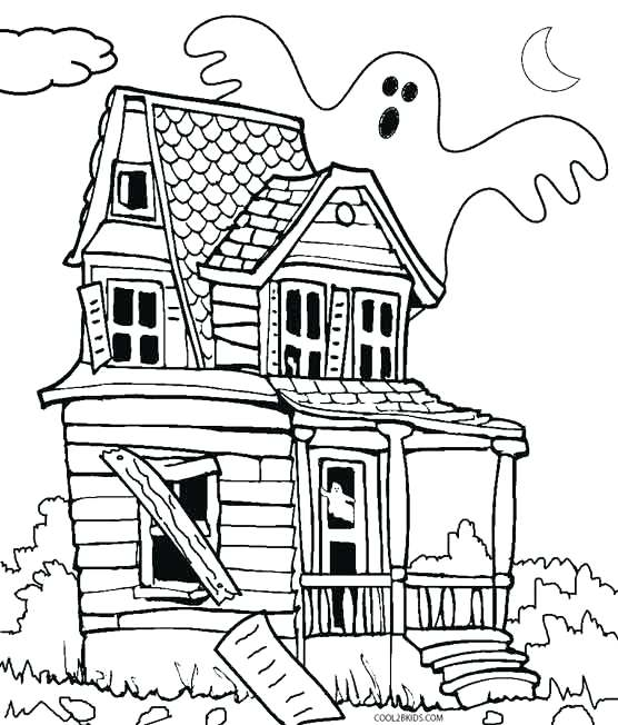 556x652 Inspiring Haunted House Coloring Page 11 On Coloring For Kids