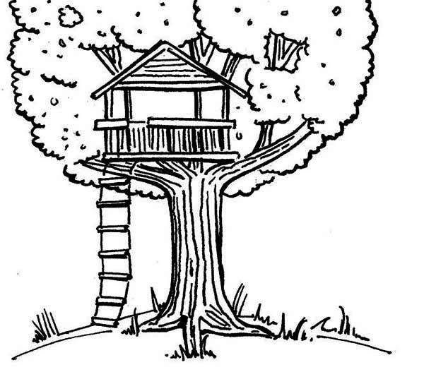 600x527 Tree House Coloring Pages Simple Living Tree In The World Places
