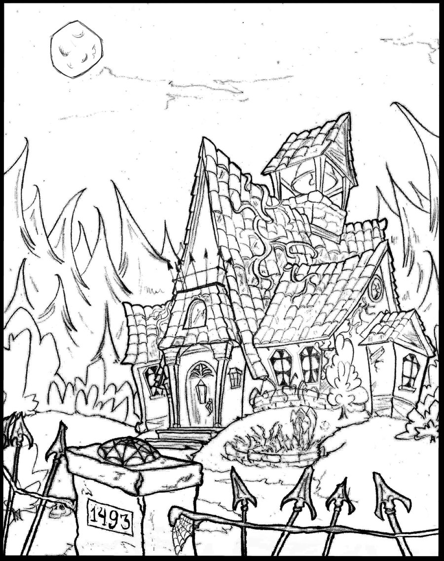 900x1136 Haunted House Coloring Pages Printable Inside