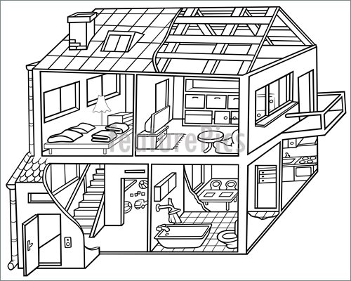 500x400 Inside House Clipart Black And White