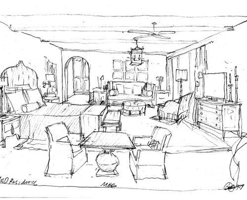 500x404 Drawing Interior Design Sketches Ravishing Painting Curtain