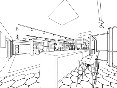 450x338 Interior Outline Sketch Drawing Perspective Of Showroom Royalty