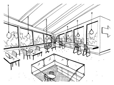 450x338 Monochrome Drawing Of Interior Of Open Co Working Space