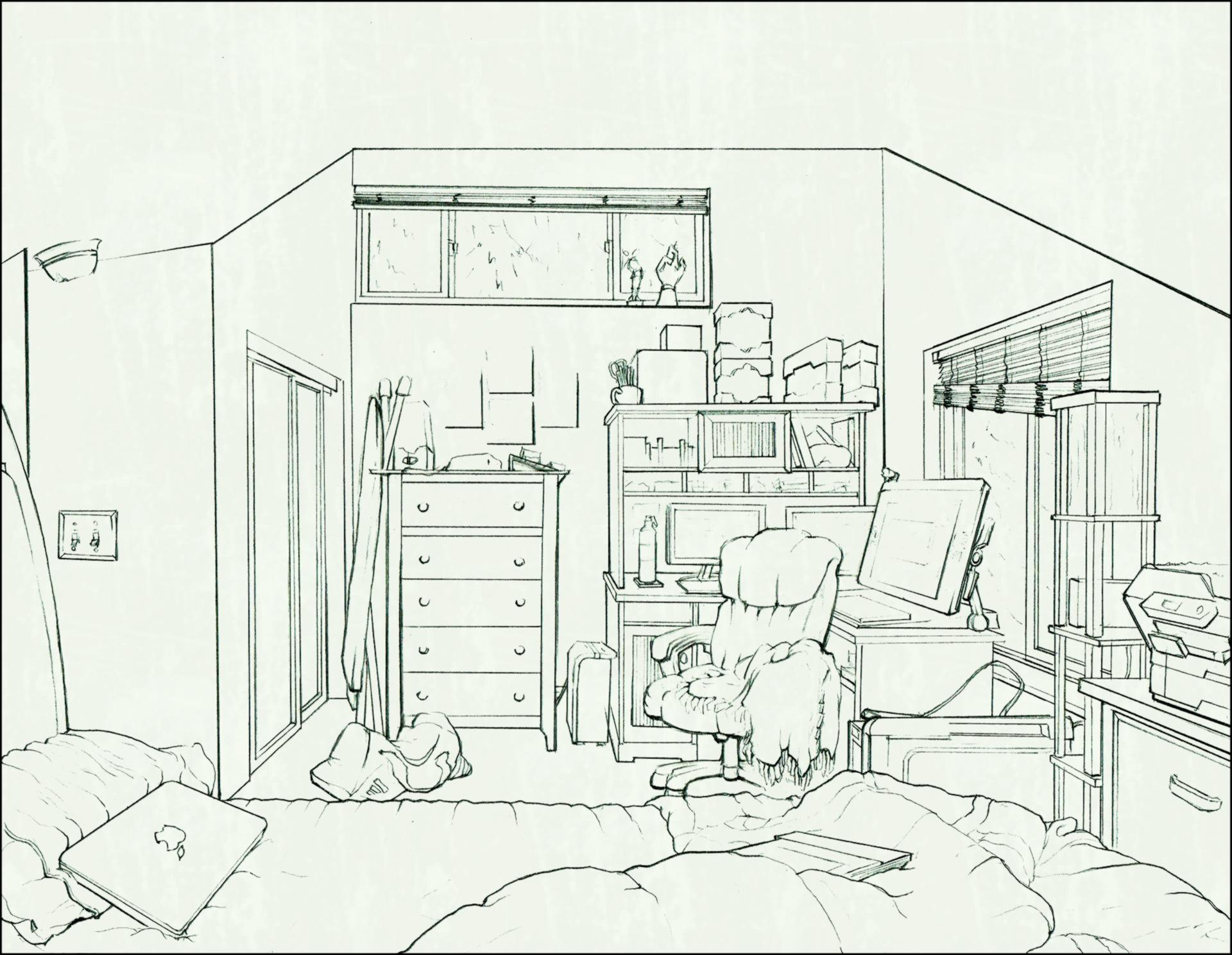 1920x1489 Scroll To See More Artstation Interior Drawing Of My Bedroom