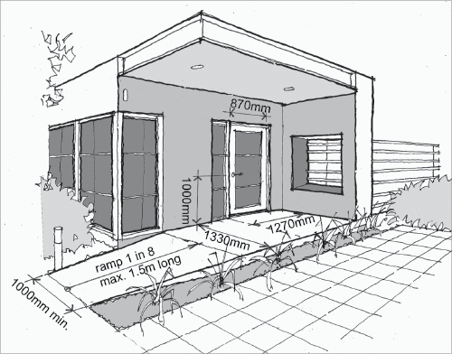 500x392 A Line Drawing Of The Front Door Of A Home. There Is A Ramp That