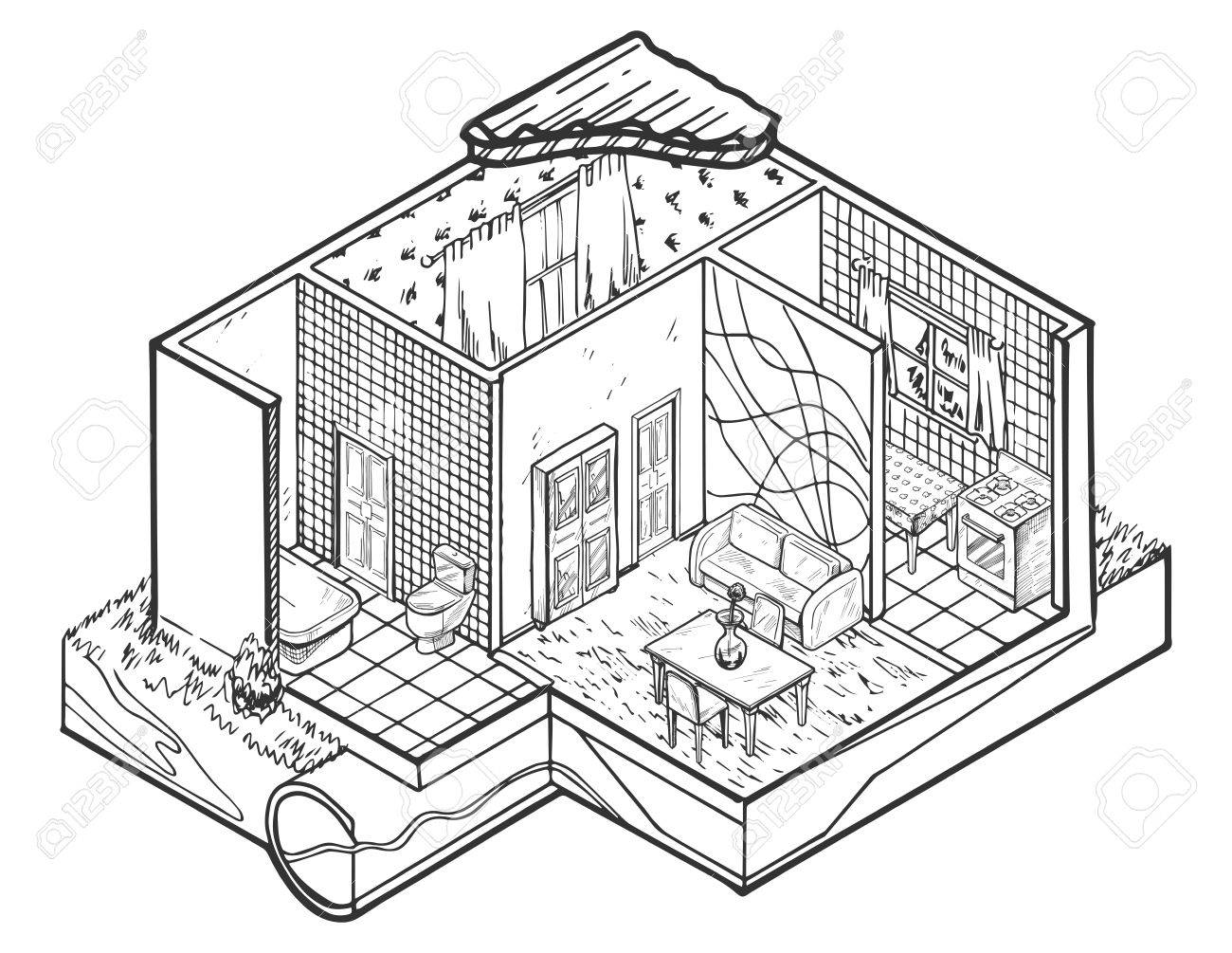 1300x1005 Vector Illustration Of House Interior Hand Drawn Architecture