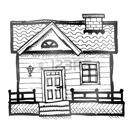 450x450 Hand Drawn House Sketch Of Home In Doodle Style Royalty Free