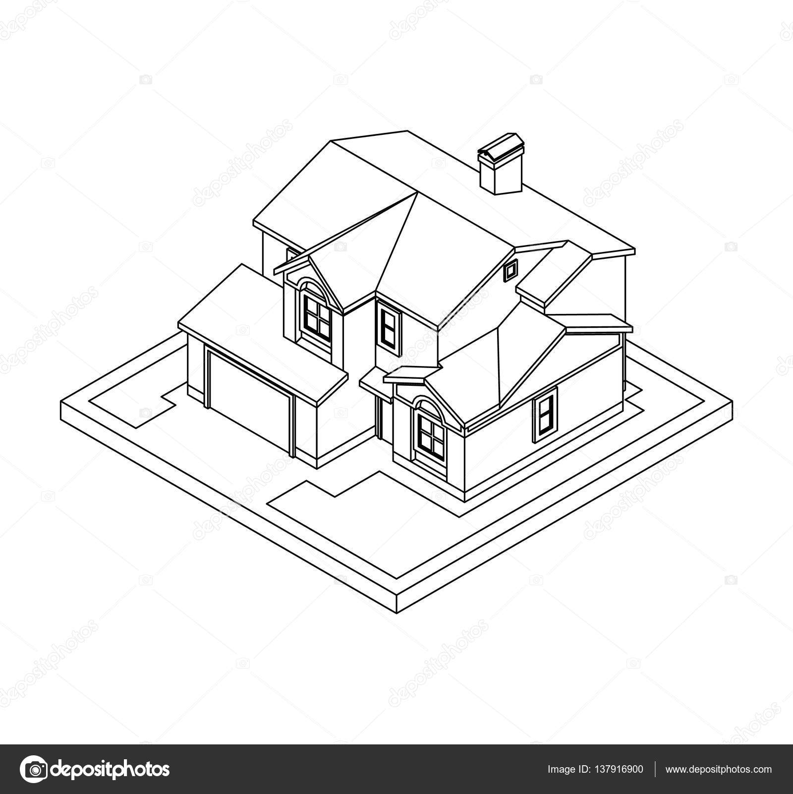 1600x1601 Drawing Of Private House Stock Vector Pleskach
