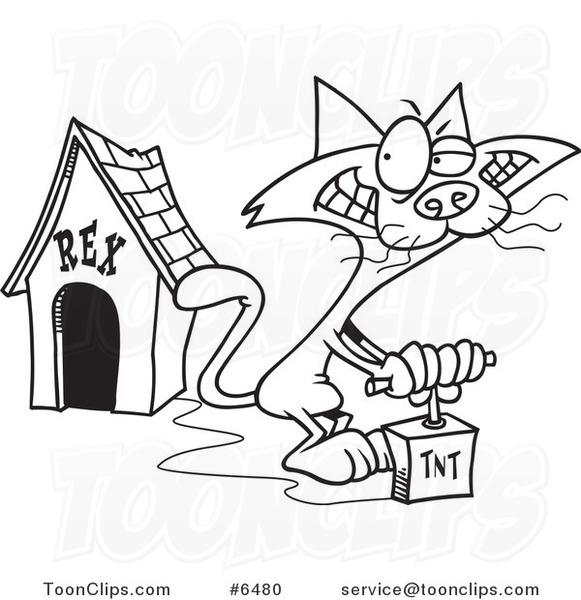581x600 Cartoon Black And White Line Drawing Of A Cat Blowing Up A Dog