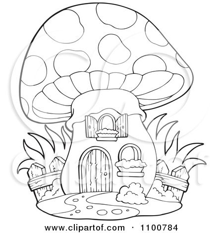 450x470 Clipart Outlined Mushroom House With A Wooden Fence
