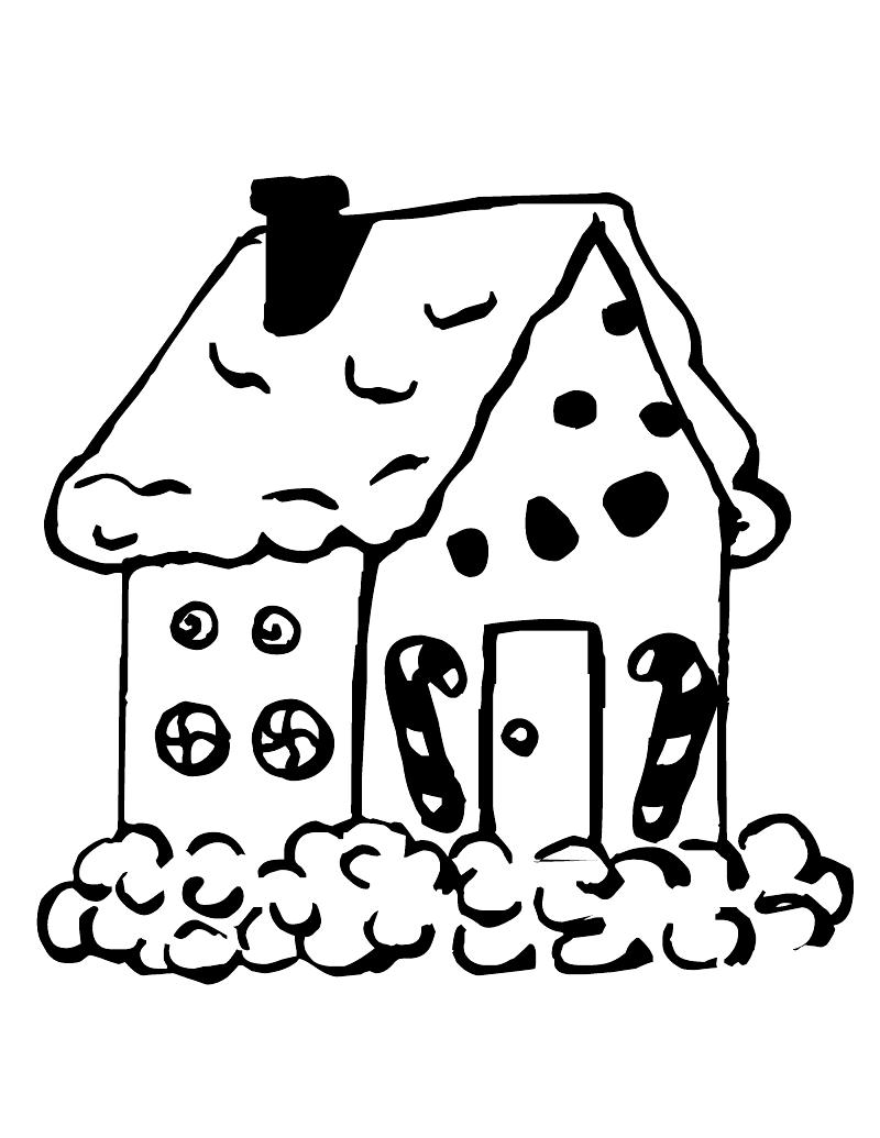 800x1035 Gingerbread House Clipart Black And White