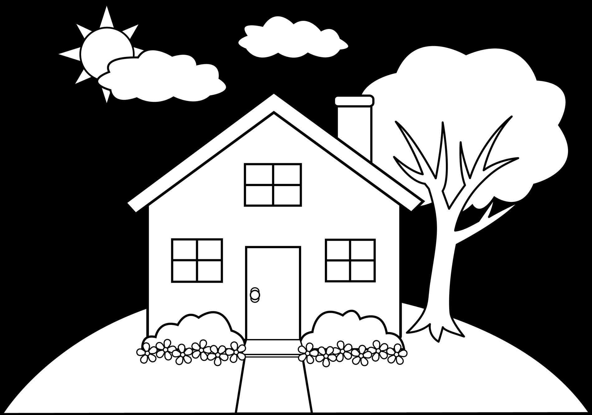 1899x1332 And In Color Clipart House Drawing Outline Pencil And In Color How