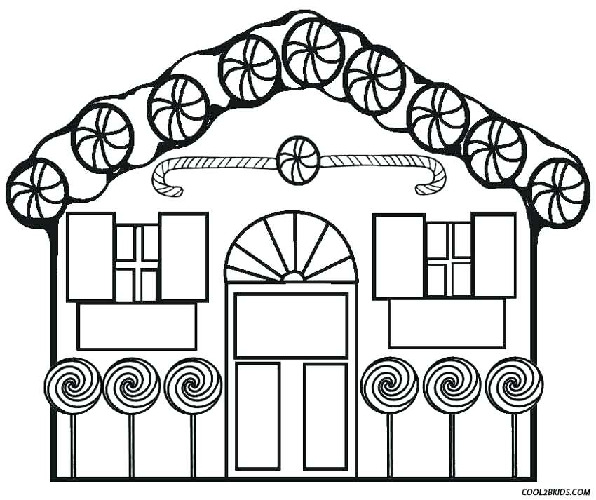 850x713 Gingerbread House Coloring Page Linert Illustration
