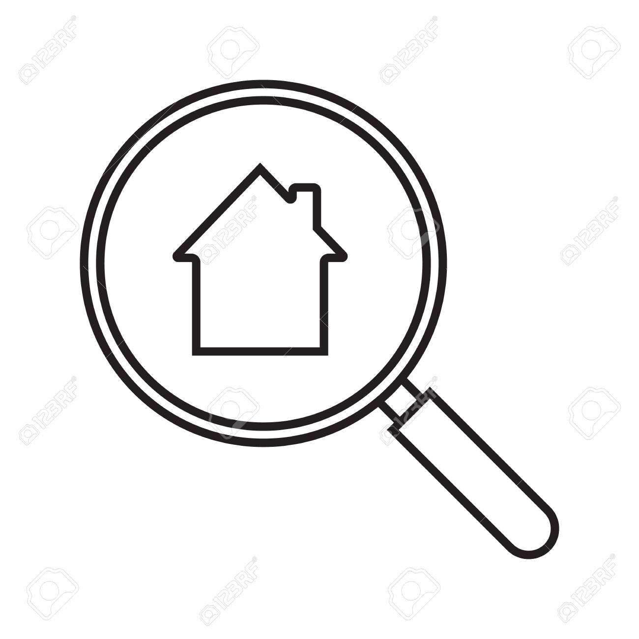 1300x1300 Real Estate Search Linear Icon. House Hunt. Thin Line Illustration