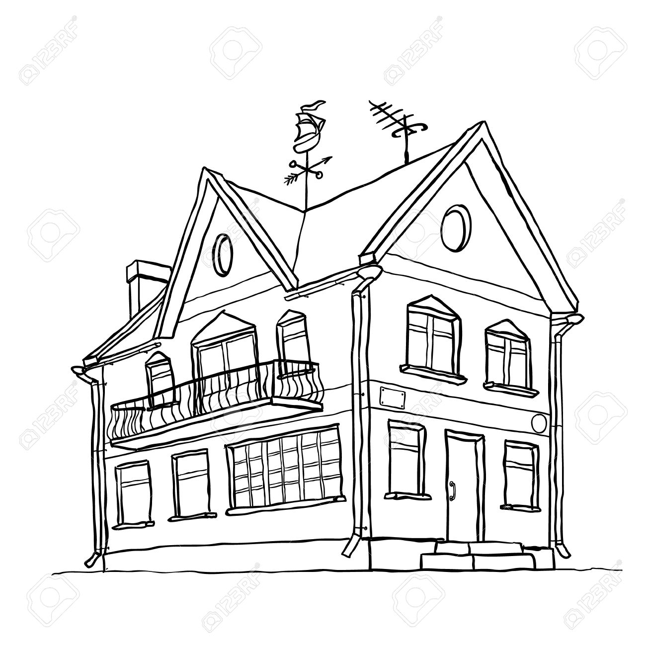 1300x1300 Vector Sketch Of Modern House Royalty Free Cliparts, Vectors, And