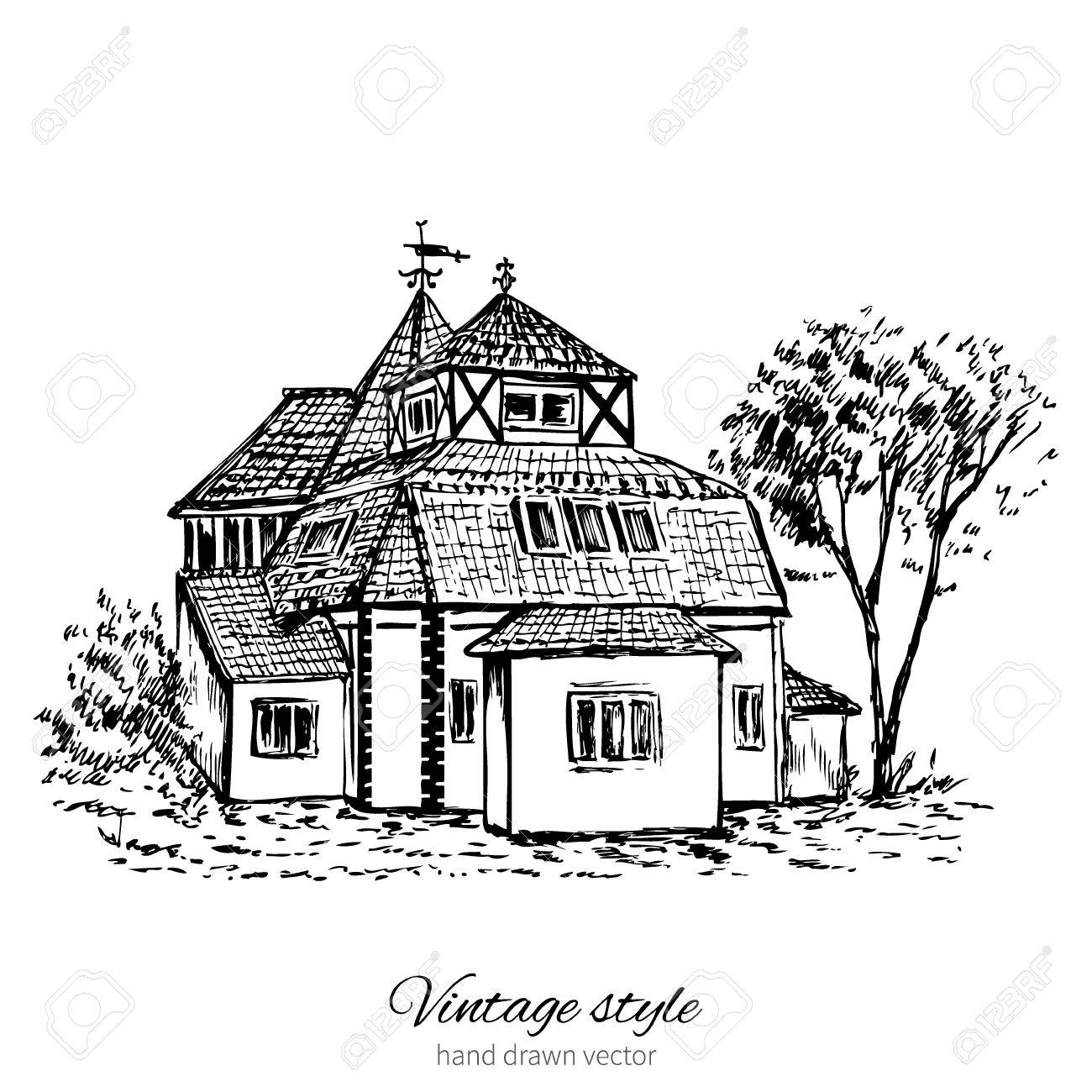 1300x1300 Vintage Vector Sketch Tile Old European House, Mansion, Historical