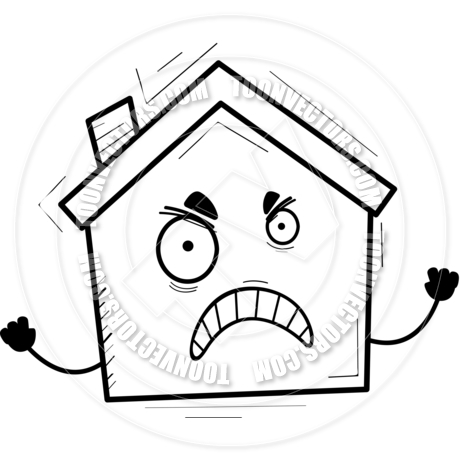 460x460 Cartoon House Angry (Black Amp White Line Art) By Cory Thoman Toon