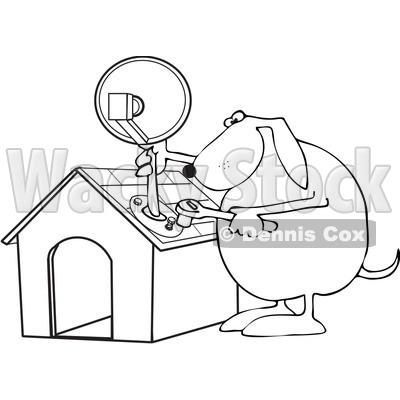 400x400 Free Vector Clip Art Illustration Of A Black And White Dog