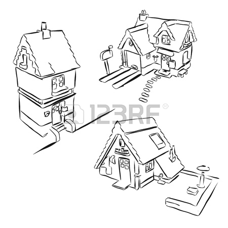 450x450 Grayscale Drawing Dream House, Hand Drawn Vector Outline Drawing