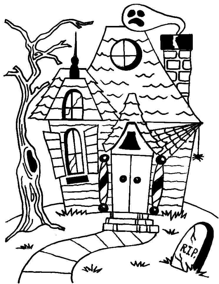 744x964 Halloween Haunted House Coloring Pages