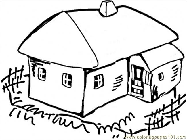 650x487 House In The Village Coloring Page