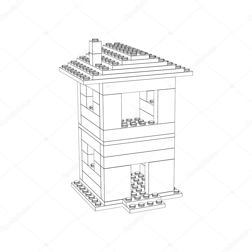 1024x1024 3d House From Plastic Construction Bricks.vector Outline Illustr