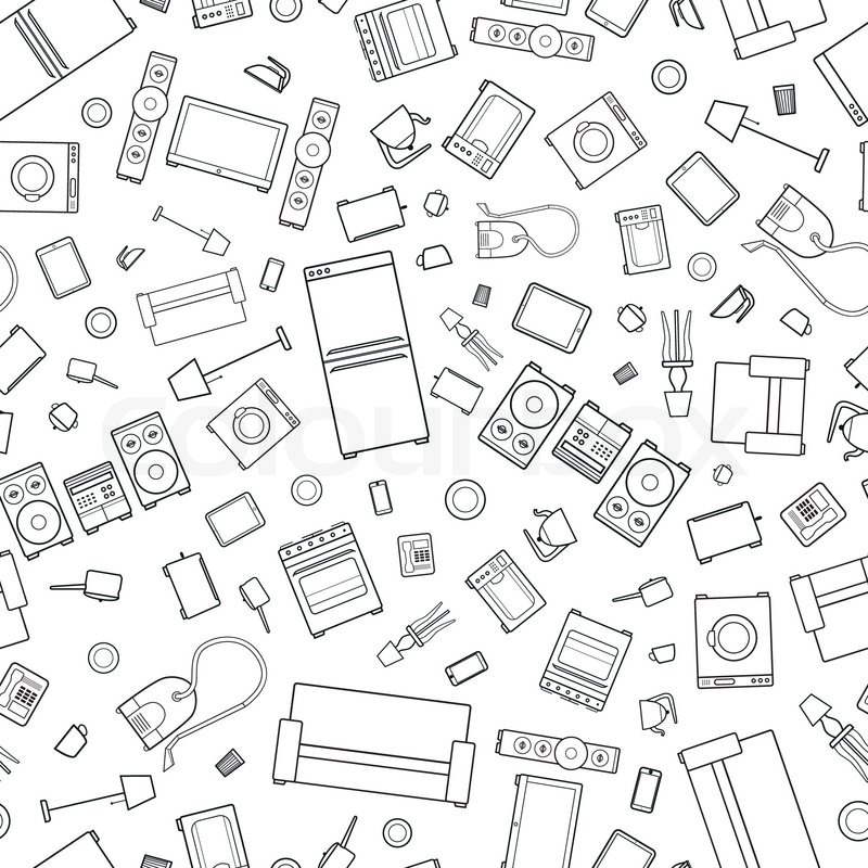 800x800 Mess Of Outline Icons Of House Appliance Isolated On White