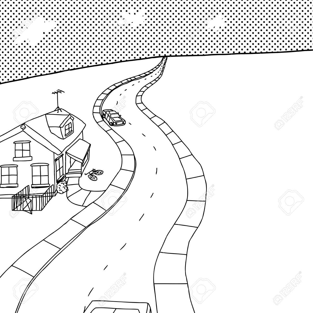 1300x1300 Outline Cartoon Of Street With Little House And Cars Royalty Free