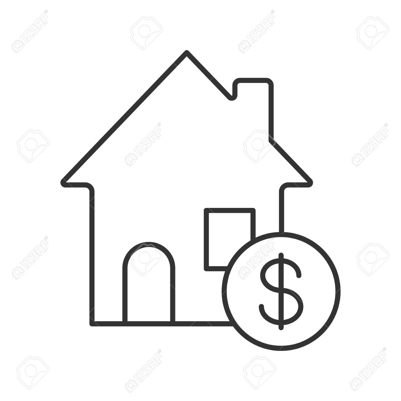 1300x1300 Real Estate Market Linear Icon. Thin Line Illustration. Rental