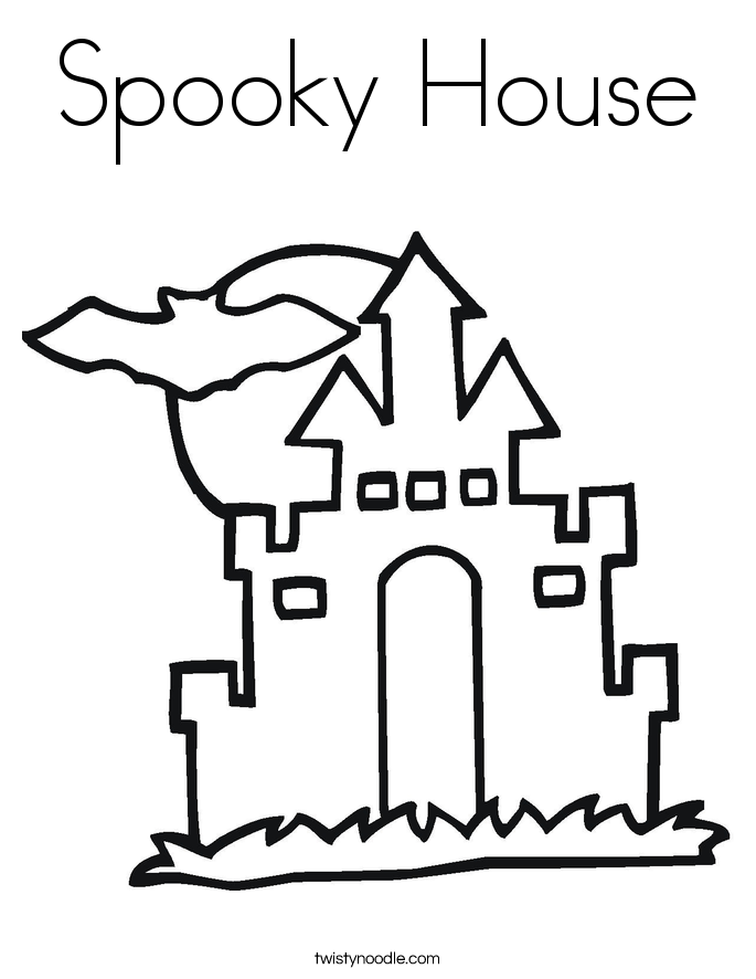 685x886 Spooky House Coloring Page
