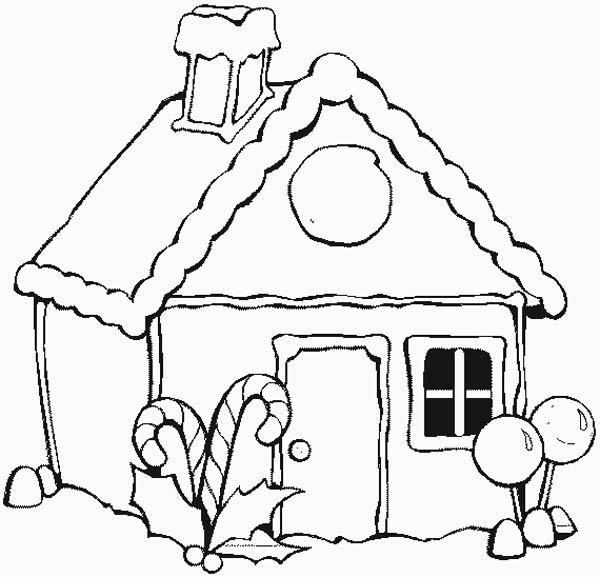 600x577 Christmas Gingerbread House Coloring Page