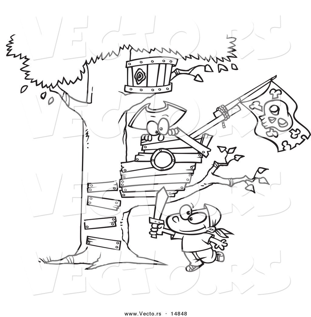 1024x1044 Vector Of A Cartoon Boy Playing Near His Pirate Tree House