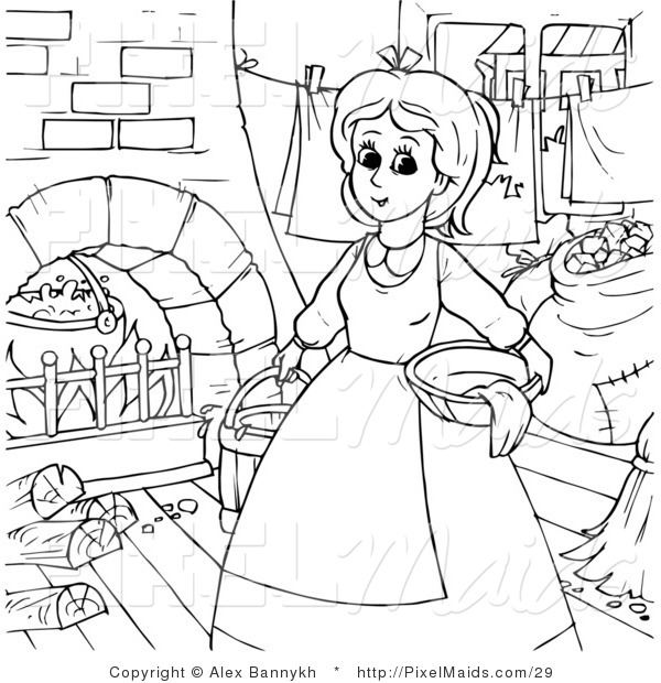 600x620 Clipart Of A Coloring Page Outline Of Cinderella Doing Chores