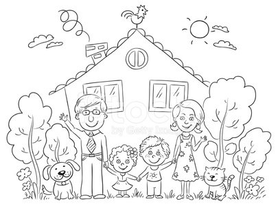 405x300 Family At The House, Outline Stock Vectors